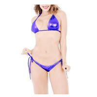Sexy Women Lingerie Metallic Shiny Party Clubwear Lace Up Bikinis Set Swimwear