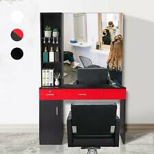 Salon Cabinet Hair Styling Station Storage Barber Mirror Table Spa Equipment