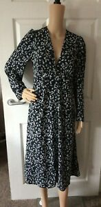Bnwt V by Very Button Through Floral Dress - Black - Size 12