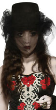 Black Top Hat with Tulle Victorian Gothic Witch Steampunk Cosplay Adult Size