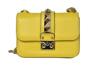 Valentino Yellow Leather Rockstud Small Glam Lock Crossbody Bag