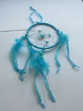 BLUE DREAMCATCHER, with feathers, beads, STARS, BUTTERFLY & ribbon surround