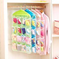 16 Pocket Closet Over Door Wall Hanging Organizer Storage Stuff Bag Pouch Holder
