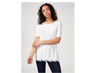 Nina Leonard Rose Crochet Hem Tunic Ivory Size Medium BNWT
