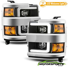 For 2015-2019 Chevy Silverado 2500/3500 Black LED DRL Projector Headlights Pair