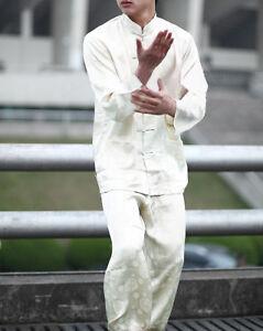 Men's 100% Silk Sleepwear Long Sleeves Kong Fu Suit Pants Pajama Set White