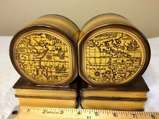 Pair Old World Map Ceramic Book Ends Made in Japan Yellow Vintage