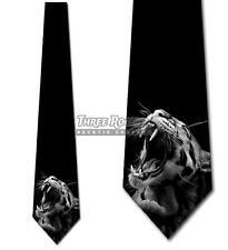 Roaring Big Cat Tie Men's Animal Tiger Leopard Lion Neck Ties Brand New