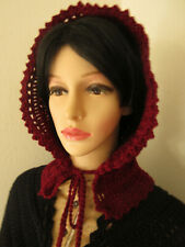 Women'S 100% Wool Crocheted Marroon Hood Victorian Civil War Dickens