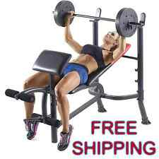 Fitness Bench Workout Home Gym Training Vinyl Weight Barbell Set 80 lb Incline