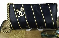 """Auth rare limited edition Chanel """"lucky charms""""  black with gold piping clutch"""