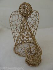 """Christmas Angel Votive Candle Holder-Gold Coated Wire-8"""" X 7"""" X 5"""""""