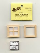 Half Scale Window - 4-Light Pane  1:24 Dollhouse wooden H5004 Houseworks G Scale