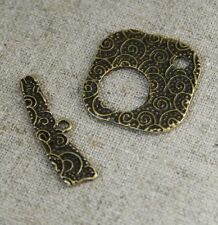 Antique Bronze Square Toggle Clasp - 15 sets