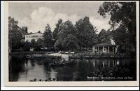 Bad Elster Sachsen DDR Postkarte 1957 Partie am Gondelteich beim Haus am See