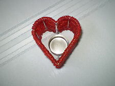 Red Beaded Heart Valentines Day Candle Holder! One Owner!