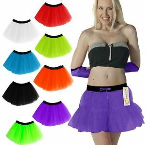 LADIES WOMENS 80s NEON UV  2 LAYERS TUTU SKIRTS HEN PARTY DANCE WEAR FANCY DRESS
