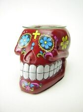 Red Sugar Skull Burner Wax Tart Oil Candle Warmer Electric Polyresin