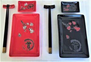 JAPANESE SUSHI SET - Porcelain Set For 2 - Plates, Dip Dish, Chopsticks etc