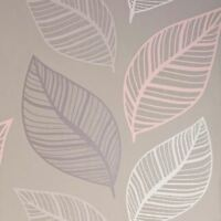 CROWN EMPORIUM ELBA LEAF WALLPAPER BLUSH / TAUPE M1462 - FEATURE WALL NEW