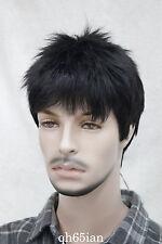 FASHION Uomo Nero Parrucca maschile direttamente usura quotidiana Parrucca di capelli naturali COMPLETO + Parrucche Cap