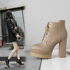 Women Lace up Ankle Boot High Block Heel Platform Round Toe Chunky zipper Shoes