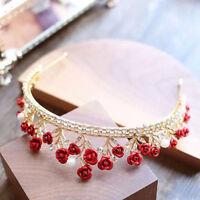 Red Crystal Crown Tiara Bridal Rhinestone Headband Princess Wedding Birthday