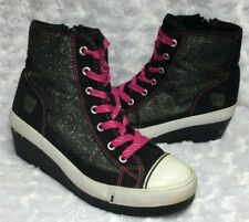 DISNEY Girls SHAKE IT UP Black Sparkly Hi-Top Side Zip Sneakers Shoes (Size 4.5)