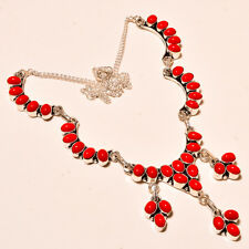 Red Italian Coral Charming .925 Silver Gemstone Jewelry Necklace 18''