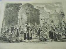 Gravure 1864 - Le jardin du Luxembourg à Paris