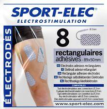 Sport-Elec 8 electrodos rectangulares 89X50 mm conexión 2 mm electroestimulador