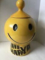 VINTAGE COOKIE JAR YELLOW MCCOY SMILLY 1960s HAVE A HAPPY DAY 11 inches