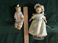 Porcelain Victorian doll and teddy bear Avon
