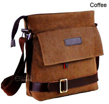 Men's Canvas Crossbody Hiking Military Messenger Sling Shoulder Bag Satchel Coffee