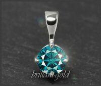 Diamant Brillant Anhänger, Solitär 0,33 ct; blaugrün, VS2; 585 Weißgold Gleiter