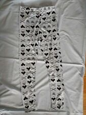 Skull Print Leggings Blue Black Punk Goth Summer Bones Hearts Visual Kei S 8