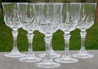Service de 6 verres à vin rouge en cristal d'Arques, modèle Auteuil