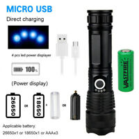 Zoom Focus 20W XHP50 LED Powerful USB Rechargeable Flashlight Caming Lamp 26650