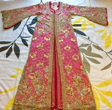 Moroccan Caftan Kaftan Floral Embroiderey Takchita Double Pieces Size S - M