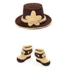 Crocheted Cowboy Hats + 1 Pair Boots Newborn Baby Photography Props Cute Custome