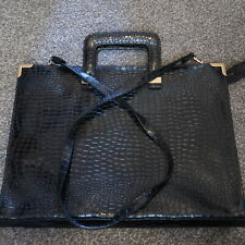 ALAN SUTHERLAND BLACK PATENT SNAKESKIN LOOK BAG