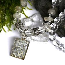 UNIKAT 925 Silber Kristall Anhänger Kreuzblume Handarbeit Collier Bergkristall