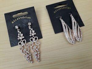 BNWT Rose Gold Facet Cut Diamante Filigree Chandelier Earrings - Drop 6.5cm/8 cm