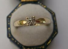 Women's 9ct Gold Diamond Solitaire Ring Stamped Size L 1/2 Weight 2g 0.16ct