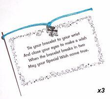 3 x WISH Bracelets/Friendship Bracelets - Lucky FOUR LEAF CLOVER + Cards