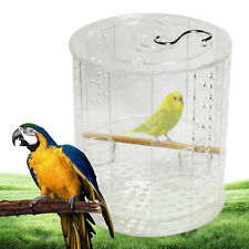 Acrylic Transparent Parrot Finch Bird Cage w/Standing Stick+Water Bowls Us Stock