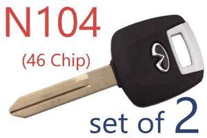 set of 2 New N104 Transponder Chip (46) key FX35 FX45 G35 2003-2008 USA Seller