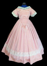 1800's Civil War Victorian Pink Bengaline Moire Ball Gown Dress New Made in Usa
