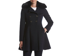 NEW  Via Spiga Double Breasted Faux Fur-Trim Wool Blend Coat Navy Size 14