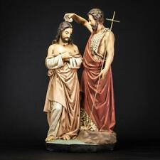 "Baptism of Christ Statue   St John The Baptist Jesus Figure Vintage Plaster 21"""